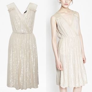 French Connection Sequin V Neck Dress  Gown Cockta